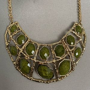 Green and gold statement necklace to die for